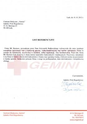 List referencyjny Centrum Medycznego Gemini