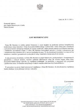List referencyjny Kancelarii Komorniczej w Łasku