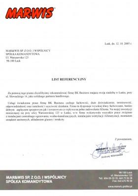 List referencyjny firmy MAR&WIS