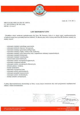 List referencyjny firmy Mrugalski-Mrugalski Sp.Jawna