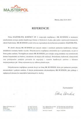 List referencyjny Majster-Pol Kosińscy Sp.J.