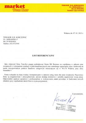 List referencyjny firmy Tom-Kor R.R. Korczowic