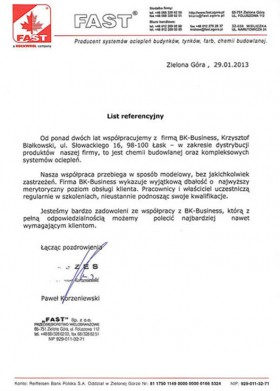 List referencyjny firmy Fast Sp. z o.o.