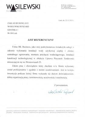 Referencje od firmy Zakład Budowlany Wasilewski Ryszard