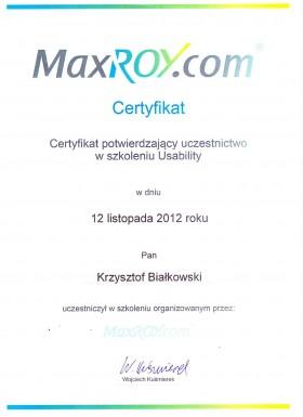 Certyfikat potwierdzający odbycie szkolenia z zakresu Usability