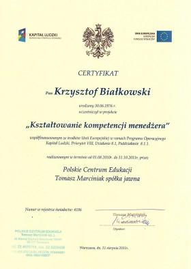 Certyfikat potwierdzający uczestnictwo w projekcie Kształtowanie Kompetencji Menedżera