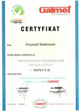 Certyfikat z udziału w szkoleniu Nowoczesne i Ekonomiczne Źródła Ciepła