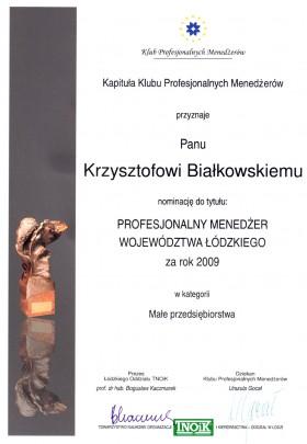 Nominacja do tytułu Menedżer Roku 2009