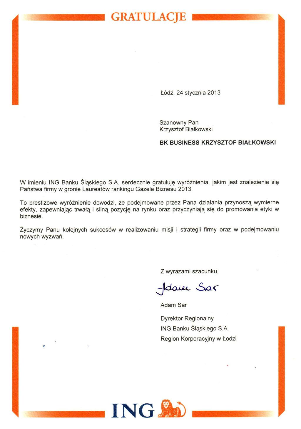 List gratulacyjny od Dyrektora Regionalnego ING